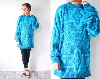 Vintage bright blue aztec print sweater // boho sweater // navajo boho top // soft sweater // winter sweater // slouchy oversized sweater