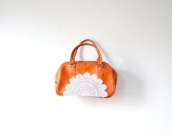 20% OFF VALENTINES SALE Vintage caramel tan lace doily bag // up-cycled purse // boho overnight bag // luggage bag // lace crochet luggage b