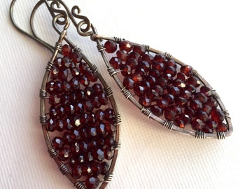 Garnet earrings - garnet beads wire wrapped in silver