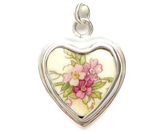 Broken China Jewelry Vintage Pink Roses & Leaves A Sterling Heart Charm