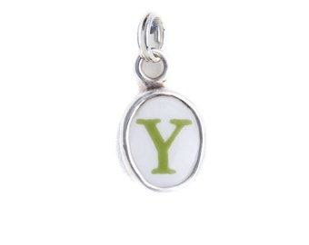 """Broken China Jewelry Letter """"Y"""" Sterling Charm"""