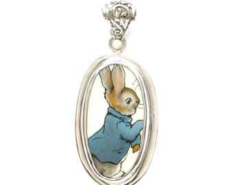 Broken China Jewelry Beatrix Potter Peter Rabbit Running Sterling Tall Oval Pendant