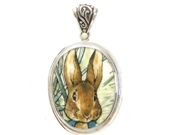 Broken China Jewelry Beatrix Potter Peter Rabbit in the Garden Close Up Sterling Oval Pendant