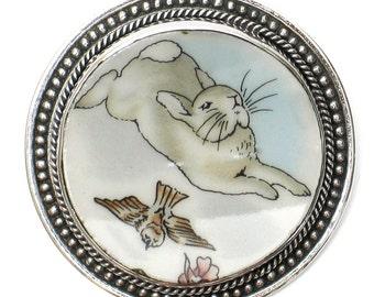 Broken China Jewelry Beatrix Potter Peter Rabbit Flying Birds Sterling Brooch Pin Pendant