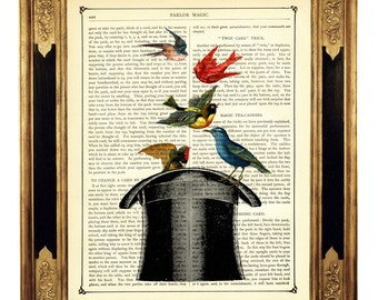 Birds Art Print Top Hat Magic Trick - Vintage Victorian Book Page Art Print Dictionary Steampunk Magician Wizard