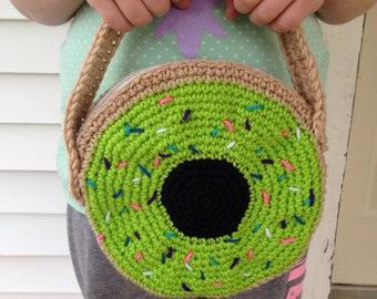 Green Sprinkled Donut Crocheted Purse