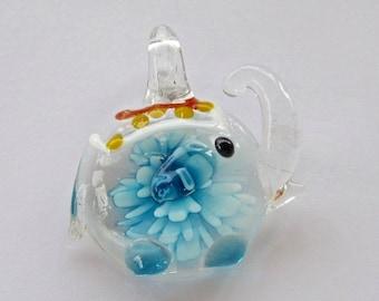 Blue Elephant Glass Bead Pendant