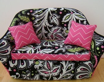 Barbie Furniture - Black and White Living Room Sofa -Flowering Vine Print w Pink Chevron Trim/Pillows - FREE Shipping to anywhere in the USA