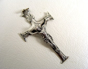 vintage 40s Ster S F Swift & Fisher Sterling Silver Inri Jesus Crucifix Detailed Cross Pendant Religious Christian Pendant