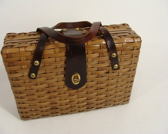 vintage Brown Woven Wicker Rattan Box Purse Handbag with Leather Handles Strap and Turn Clasp made in  Hong Kong