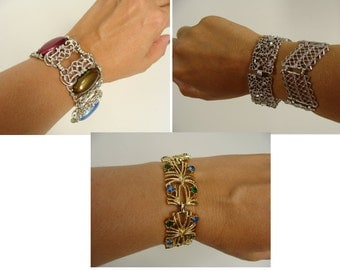 was 42.22 4 vintage linked panel cuff bracelets, Silver Tone Sarah Coventry Cabachon, Emmons Filigree, Gold Tone Blue n Green Rhinestone