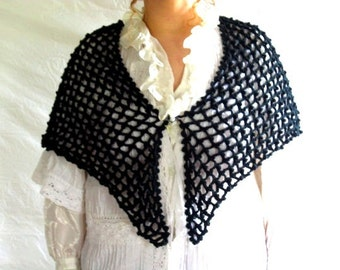 Shawl Hand Crocheted Black Fishnet with Heart Cameo Brooch Pin