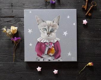Children's Wall Art Print, Girl Nursery Decor, Cat Illustrations, whimsical animal portrait by inameliart