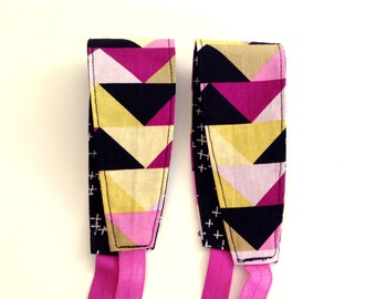 Headband for Women, Teens, or Girls. Reversible. Purple, Black, Yellow Geometric. Retro Mod Style.