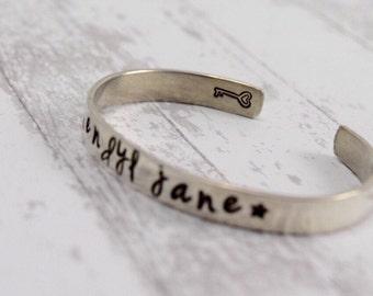 Silver Personalized Childrens Bracelet • Hand Stamped Jewelry • Customized Cuff Newborn Infant Christening Jewelry Birthday