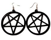 Big Black Acrylic PENTAGRAM Earrings with Silver Earring Wire // Hooks