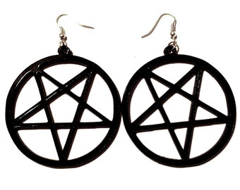 Big Black Acrylic PENTAGRAM Earrings with Silver Earring Wire // Hooks