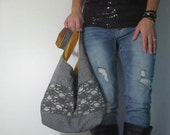 Hobo bag in linen and lace. Deep gray with interior color choice. Design your own size and strap. Mom bag. Casual chic must have style.