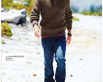Button neck knitting sweater pattern for men, size S-XXL