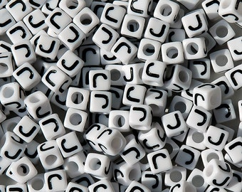 Letter-J, 7x7mm Cube Alphabet Beads Brite White with Glossy Black Letter J, 100pc