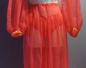 Fun Vintage 1960s  All Nylon Genie Lingerie Set. Silhouettes Label. Small. Red.