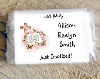Mini Candy Bar Wrappers for Girl's Baptism, Christening, First Holy Communion Hersheys Miniatures Chocolate Religious Party Favor