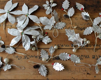 Vintage silver paper poinsettias and holly - retro 1950s Christmas flower collection - mixed flower assortment - Christmas decor
