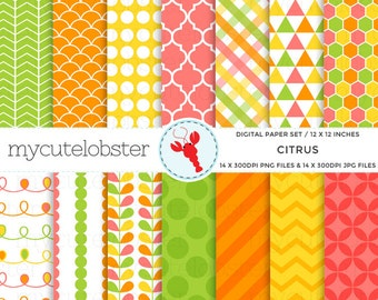 Citrus Digital Paper Set - patterned paper pack, scrapbook papers, orange, yellow - personal use, small commercial use, instant download