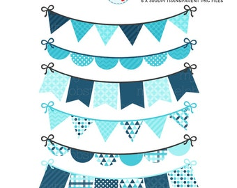 Blue Shades Bunting Clipart Set - digital bunting, clip art set, bunting, blue, navy - personal use, small commercial use, instant download