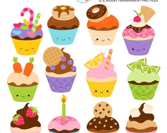 Happy Fun Cupcakes Clipart Set - cupcakes, candy, birthday, party, cake clip art set - personal use, small commercial use, instant download