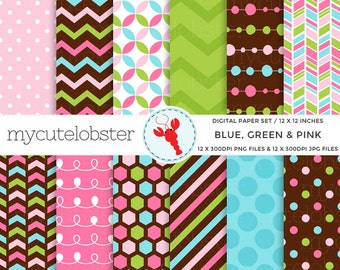 Digital Paper Set - Blue, Green & Pink - paper pack, patterned, chevron, honeycomb - personal use, small commercial use, instant download