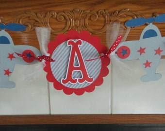 Baby Shower Banner, Its A Boy Airplane Shower Banner, Red, blue gray airplane banner, New baby boy banner
