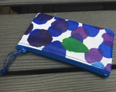 Handmade Marimekko Finland Mustikkamaa  OIL cloth fabric coin purse, super cute