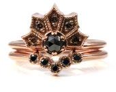 Gothic Engagement Ring Set - Millgrained Crown Ring with Black and Champagne Diamonds in 14k Rose Gold