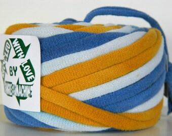 Recycled T Shirt Yarn, Gold and Blue Tie Dye 22.5 Yrds, T- Shirt Yarn, Tarn