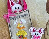 Easter Bag, Bunny, and Bunny Pin Set, Felt Easter Set, Oversize Felt Bunny, Small Felt Bunny Pin, and Felt Bag machine embroidery