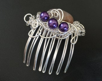 Unique Hair Comb - Handcrafted Wire Wrapped in Silver Plated Copper Wire with Glass Beads