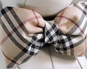 Dog Bow Tie or Flower - Ivory, Black and Red Plaid