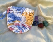 Healing Chakra stones set with cotton crochet drawstring coin dice bag pouch purse sack