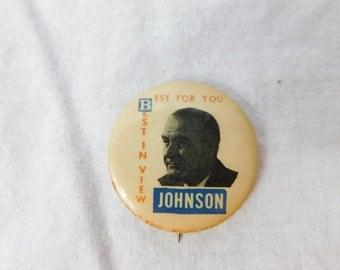 Vintage LBJ Lyndon B Johnson For President Pin Pinback Button   DR2