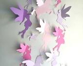 Unicorn and Fairy Wall Decor, 3d unicorn and fairy paper wall art, whimsical nursery decor, paper wall art, paper wall decals, 3d wall decal