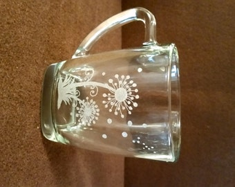 Dandelion Coffee Mug/Hand Etched/CLEARANCE SALE
