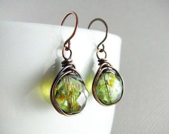 Wire Wrap Earrings Green Earrings Copper Earrings Wire Wrapped Jewelry Copper Wire  Wrap Copper Jewelry