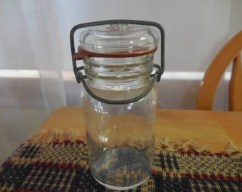 Vintage Glass Jar with Airtight Wheaton 1960s to 1970s Clear Flip top Lid Wire Bail