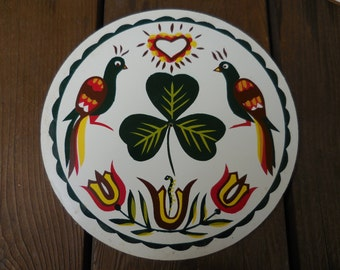 Vintage 1960s to 1970s Irish Hex Sign Round Small Wall Hanging Clover/Shamrock/Distelfinks/Heart/Tulips/Snake NOS