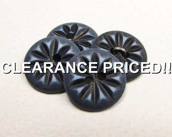 """CLEARANCE! Dusty Denim Sunbursts: 9/16"""" (14mm) Buttons - Set of 4 Matching Vintage New / Unused Buttons - Treasury Item"""