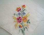 Spring Bouquet Hankie with Hand Embroidery Vintage Handkerchief
