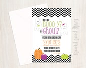 Boo-y or Ghoul Custom Halloween Gender Reveal Party Invitation, Boy or Girl, He or She Digital Printable Invite, Fall Baby Reveal