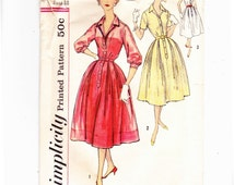 Simplicity 2412 One Piece Vintage Shirt Dress 1950s Sewing Pattern Size 18, Bust 38
