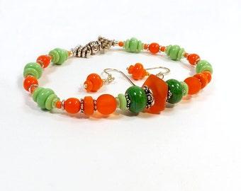 Chunky Bracelet set, Orange Sea Glass Stretch Bracelet with Green and Silver Bead Accents, Boho Surfer Bracelet, Summer Beach Jewelry